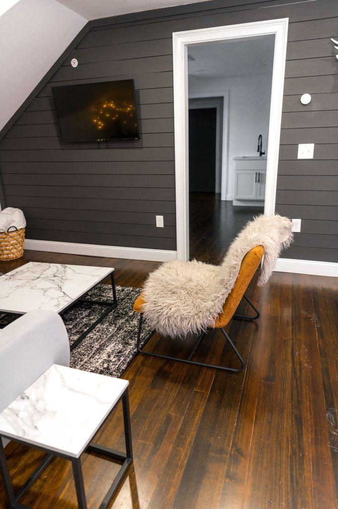 Engineered wood floor in an attic room