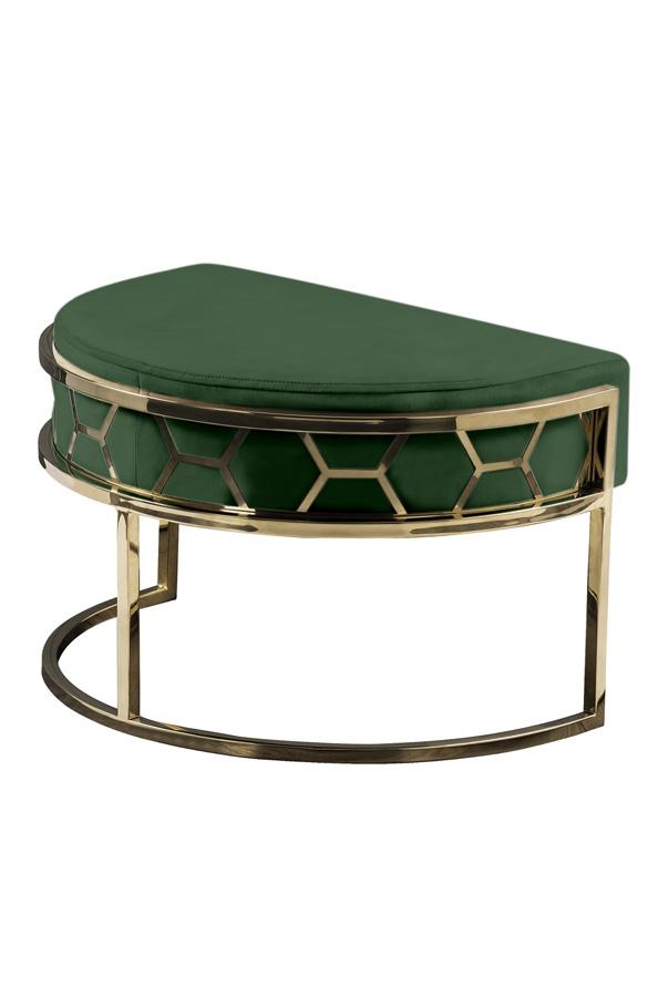 Alverea footstool in brass and bottle green, MYFurniture