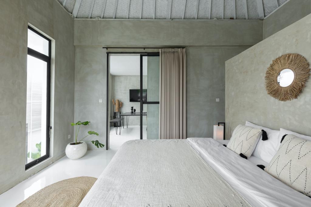 Soft green and cream contemporary bedroom design