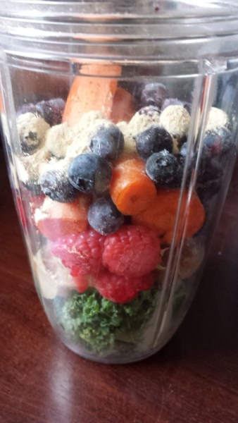 frozen banana blueberry raspberry kale smoothie NutriBlast NutriBullet