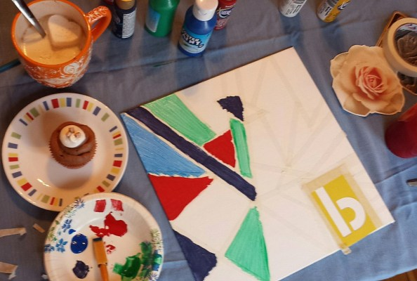 Creating + Cocoa DIY painting event hot chocolate cupcakes art craft workspace