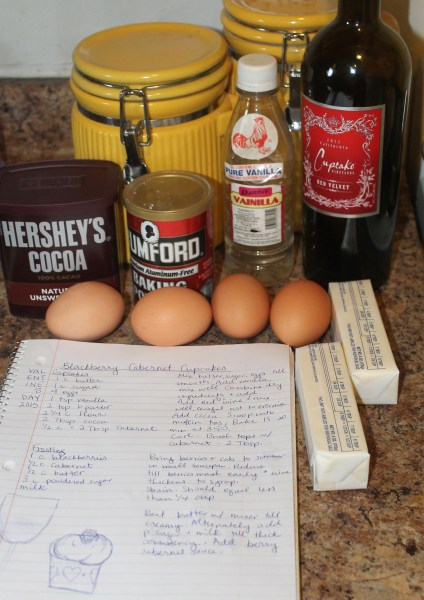 ingredients to make chocolate cabernet cupcakes from scratch