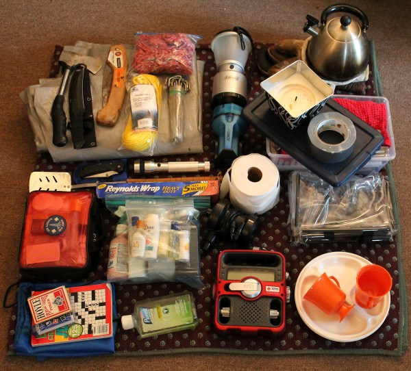 Contents of my Big Blue Camping Bin packing to prepare for camping