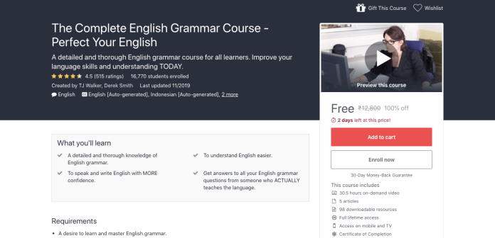 Free Complete English Grammar Certification Course