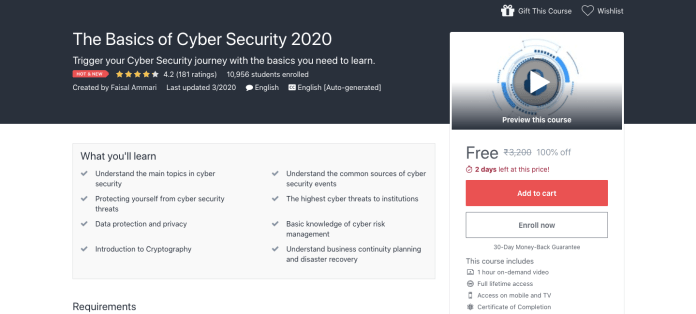 The Basics of Cyber Security 2020 Free Certification Course