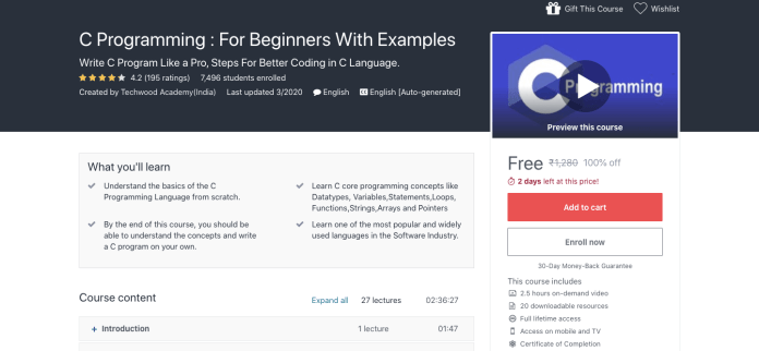 C Programming : For Beginners With Examples