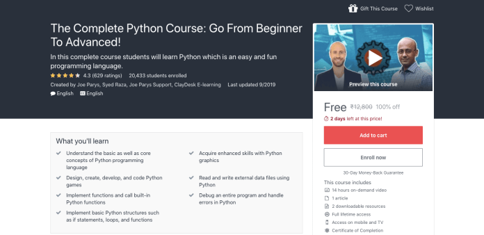 The Complete Python Course: Go From Beginner To Advanced!