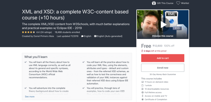 XML and XSD: a complete W3C-content based course (+10 hours)