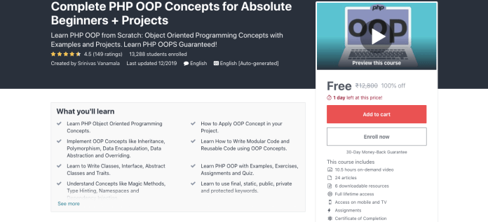 Complete PHP OOP Concepts for Absolute Beginners + Projects