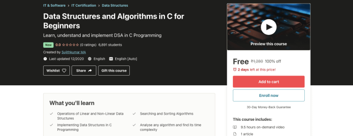 Data Structures and Algorithms in C for Beginners