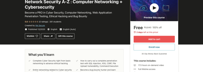 Network Security A-Z : Computer Networking + Cybersecurity