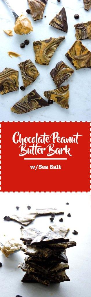Chocolate Peanut Butter Bark with Sea Salt