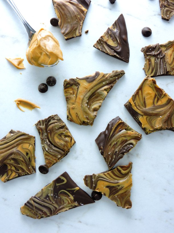 Chocolate Peanut Butter Bark with Sea Salt