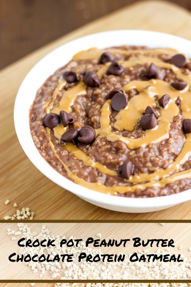 Crock Pot Chocolate Peanut Butter Protein Oatmeal