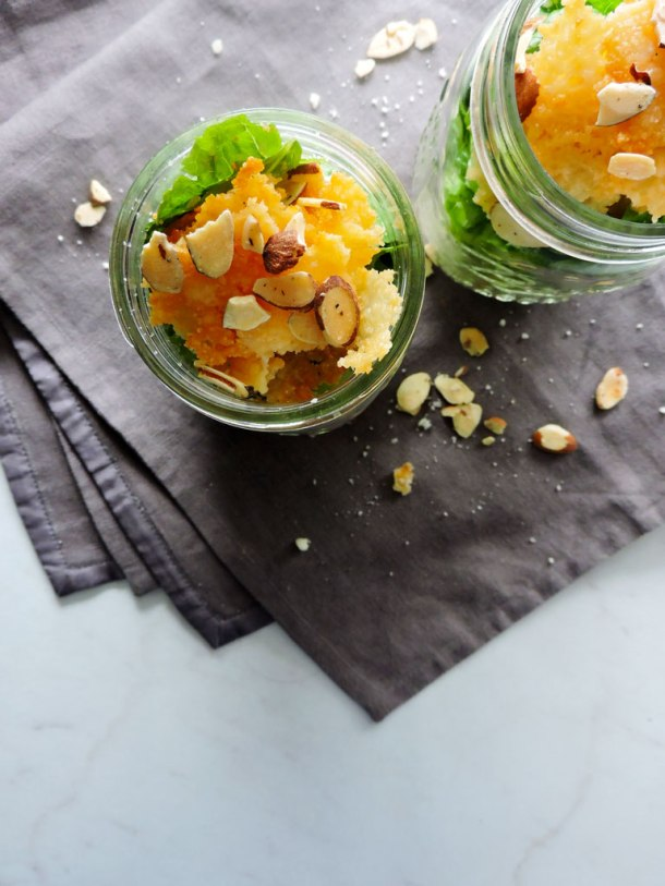 Mason Jar Caesar Salads with Parmesan Crisps