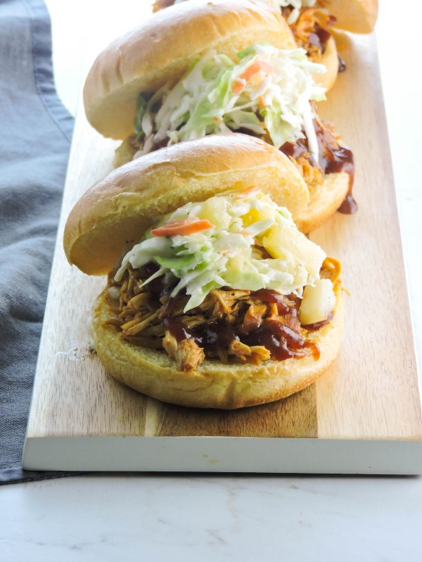 Chicken Barbecue Sandwiches with Pineapple Slaw