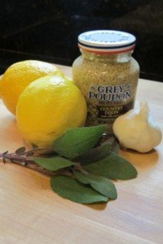Chicken thighs marinate in a flavorful combo of lemon, sage, and garlic for a quick and easy Garlic-Sage Grilled Chicken, perfect for any weeknight meal.