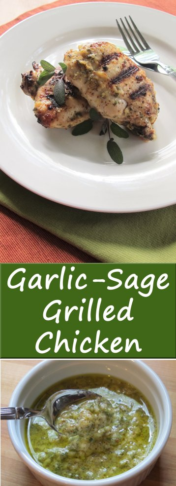This Garlic-Sage Chicken uses only 5 ingredients besides a few ingredients you'll already have in your kitchen! The chicken takes on a good punch of flavor from the marinade and cooks quickly on the grill. It makes for an easy, flavorful weeknight meal.