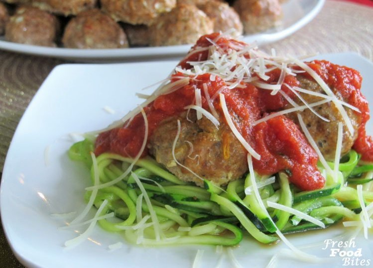 These Five Ingredient Italian Meatballs are simple and make a big batch. Freeze the leftovers for an even quicker meal another night. Even though they don't have many ingredients, they are big on flavor. Serve them over cooked pasta, sautéed veggie noodles, or spaghetti squash and add your favorite pasta sauce for a quick and healthy meal!
