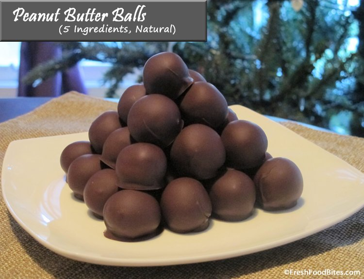 One of my favorite Christmas treats are these natural, lower in sugar, chocolatey, nutty, 5 ingredient, healthier Peanut Butter Balls.