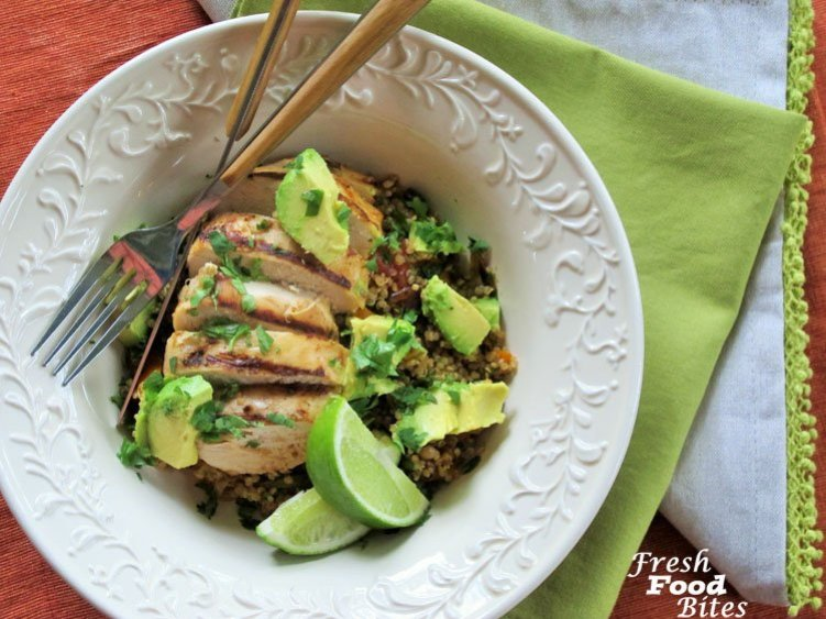 Love fajitas? Try these Grilled Chicken-Quinoa Fajita Bowls. With grilled chicken that is really simple to make, and a healthy toasted quinoa mixture that is full of vegetables and all your favorite fajita flavors, you won't be disappointed! It's a family-friendly full meal recipe that doesn't take long to make.