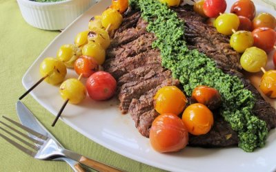 Grilled Beef Flank Steak and Tomato Kabobs