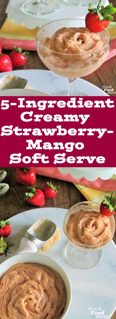 Make this 5-Ingredient Creamy Strawberry-Mango Soft Serve for a creamy, sweet, healthy, low added sugar, satisfying frozen treat on a hot summer day. It's quick and easy and you may already have the ingredients in your kitchen. Whip up a batch next time you're in the mood for fruity ice cream.