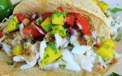 Fish Tacos with Fresh Pico and Cilantro-Lime Slaw