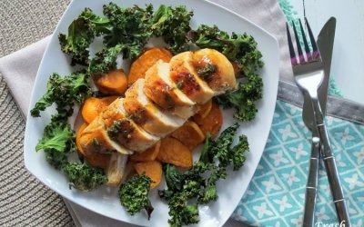 Maple-Mustard Chicken with One Pan Roasted Veggies and Crispy Kale