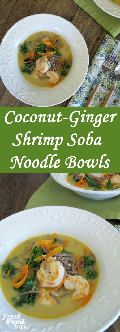 If you love noodle bowls, this Coconut-Ginger Shrimp Soba Noodle Bowls recipe is for you! Each bowl is packed full of Asian-inspired flavor and veggies for a nutritious, healthy dinner you will feel good eating. Make it gluten-free by using gluten-free soy sauce and using soba noodles that are made with 100% buckwheat, instead of a combination of buckwheat and regular wheat.