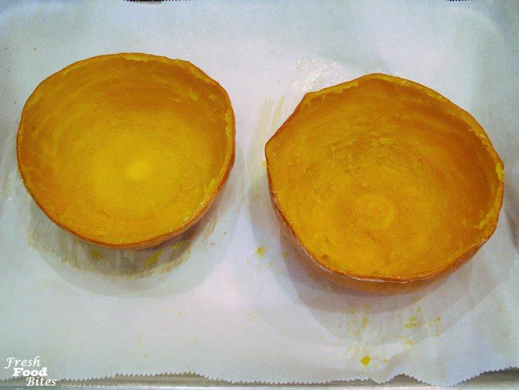8. Scoop out pumpkin flesh