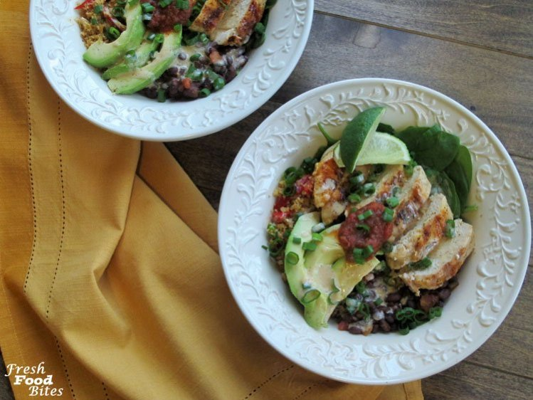 The title is a mouthful, and each bite you take of these Chicken and Black Bean Cauliflower Rice Burrito Bowls is a mouth full of deliciousness, with different flavors and textures throughout the whole bowl. Using cauliflower rice in place of regular rice cuts the calories drastically and boosts the health benefits at the same time.