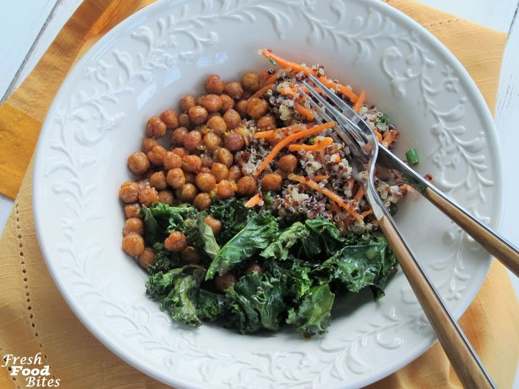Crispy Kale and Quinoa Bowls with Roasted Chickpeas