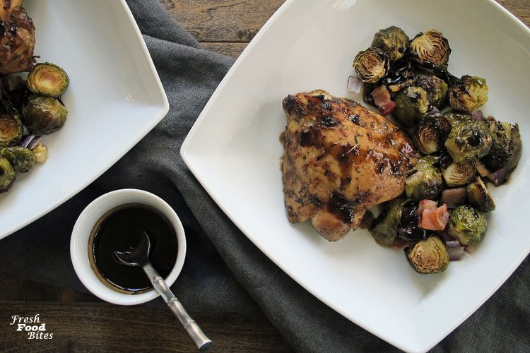 Need a new recipe to add to your weeknight meal routine? Try this Roasted Brussels Sprouts and Chicken Sheet Pan Dinner. It uses a short list of ingredients and an even shorter list of pans and bowls, which will make clean-up a snap! The Brussels sprouts get tender and toasty when roasted, while the chicken stays oh-so-juicy. The sweet-tangy balsamic, mustard, and maple syrup sauce makes everything taste even more amazing. Plus, there's bacon, and I think we can all agree that bacon makes everything taste better, including Brussels sprouts! Try them, you'll see!