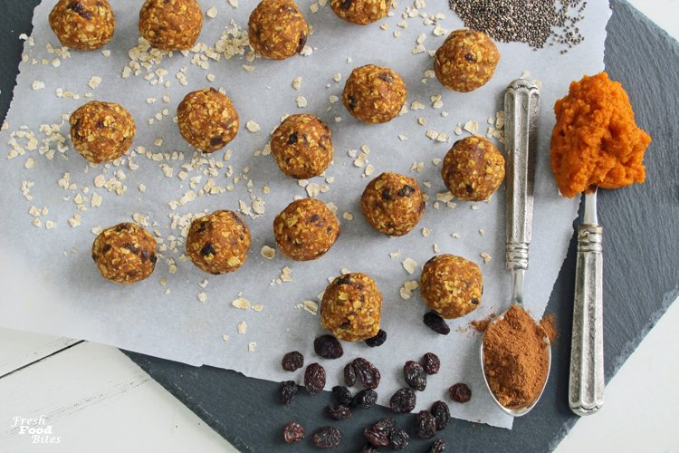 Looking for a healthy, packable, popable snack for your next road or plane trip? Make these quick and easy Gluten-Free No-Bake Oatmeal-Raisin Pumpkin Energy Bites. They are loaded with energy-boosting ingredients that will help you feel fueled and focused longer. Plus, they have way less sugar than typical granola bars because they are sweetened only with finely chopped raisins and have no added sugar.