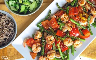 Ginger-Orange Shrimp and Vegetables Sheet Pan Dinner