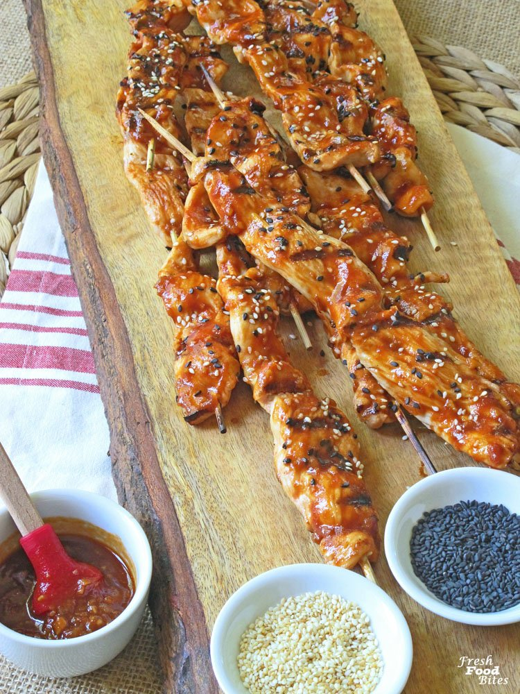 If your Memorial Day plans call for firing up the grill, throw on these Chicken Kabobs with Chili-Garlic Barbecue Sauce. The sauce is quick to make, has a little kick and lots of Asian flavors, and is the perfect match for grilled chicken kabobs. After you've tried it with chicken kabobs, try it on beef kabobs next. It will taste great!