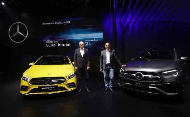 Matthias Luehers, Head Region Overseas, Mercedes-Benz Cars (right) and Martin Schwenk, Managing Director & CEO, Mercedes-Benz India (left) with the New AMG GT 63 S 4 door coupe unveiled at the Auto Expo 2020 in Delhi