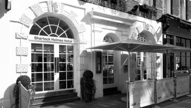 Sherlock Holmes hotel black and white