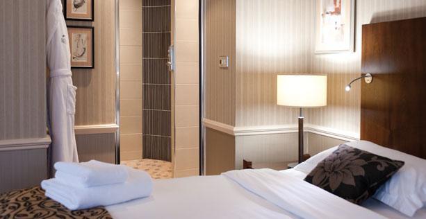 Hotel room and bathroom interiors