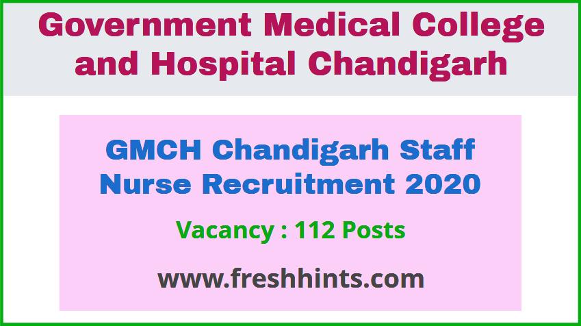 GMCH Chandigarh Staff Nurse Recruitment 2020
