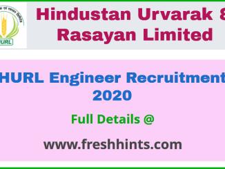 Hindustan Urvarak & Rasayan Limited Engineer Recruitment 2020