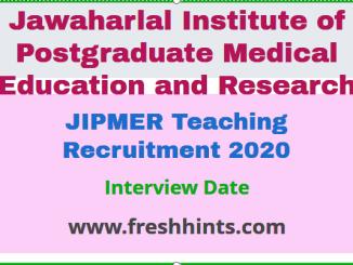 JIPMER Recruitment 2020