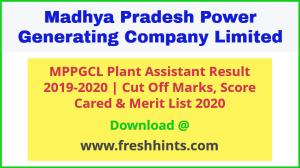 MPPGCL Plant Assistant Result 2020