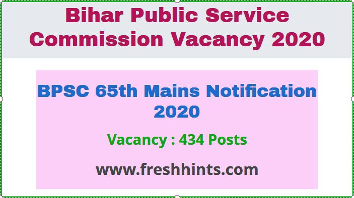 BPSC 65th Mains Notification 2020