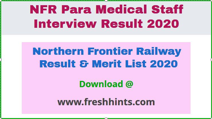 Northern Frontier Railway Result  2020