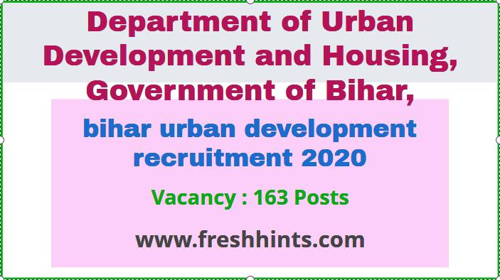 bihar urban development recruitment 2020