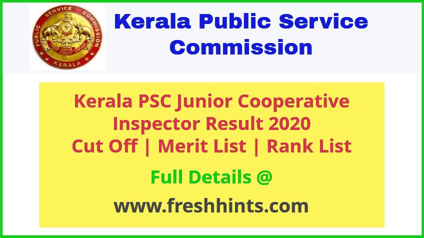 KPSC Junior Cooperative Inspector Results 2020