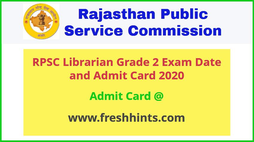 Rajasthan Librarian Grade 2 Admit Card 2020