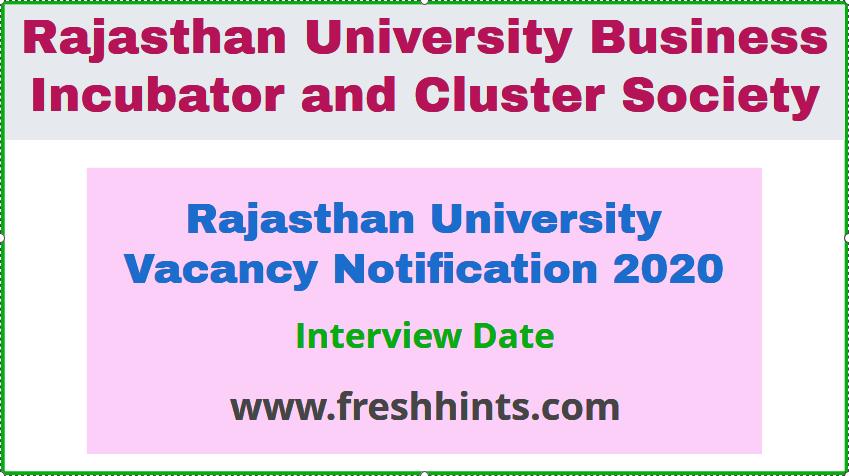 Rajasthan University Vacancy Notification 2020